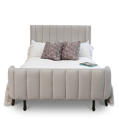 Channel Bed - Colored Chenille Fabric - HauteHouseHome.com