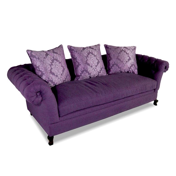 Baton Rouge Tufted Purple Fabric Sofa
