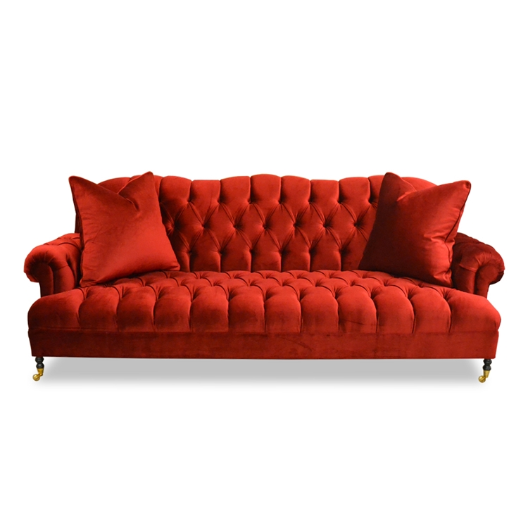 Smith Red Velvet Sofa