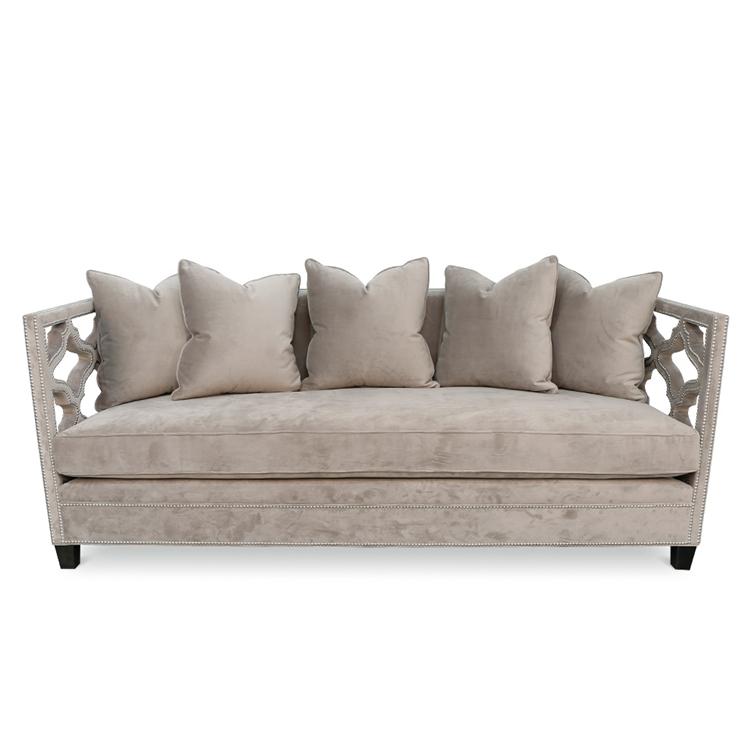 Berkeley Cut-Out Sofa - Grey Velvet Sofa - HauteHouseHome