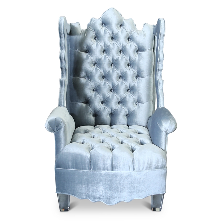 Isabella Wing Cutout Chair   Light Blue Velvet Tufted Chair    HauteHouseHome.com