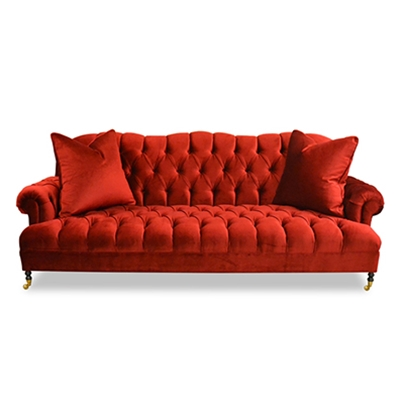 Smith Tufted Red Velvet Sofa