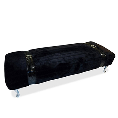 Buckle Up Bench - Black Faux Fur Bench - HauteHouseHome.com