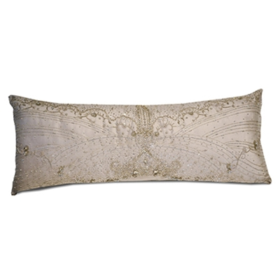 Butterfly Crystal Silver Velvet Bodice Pillow
