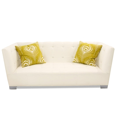Westside White Vinyl Sofa