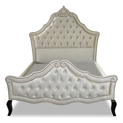 Belle Tufted Silver Velvet Bed
