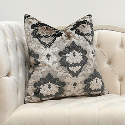 Vegas Charcoal Velvet Damask Pillow