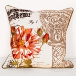 Flora Cotton Embroidered Pillow - HauteHouseHome.com