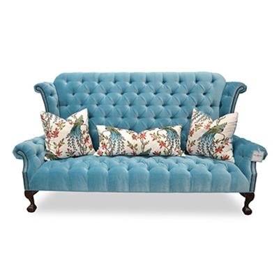 Carter Tufted Blue Velvet Wing Back Sofa