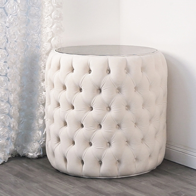 Claire Mirror White Velvet End Table