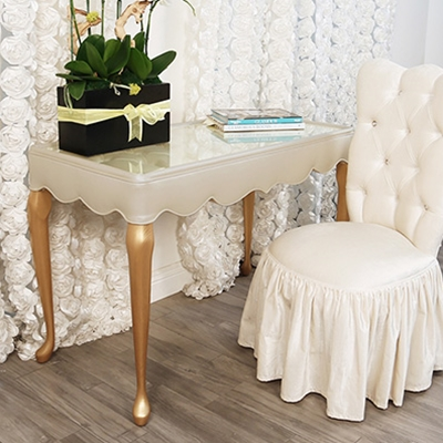 Rebecca Cream Vinyl Vanity Table