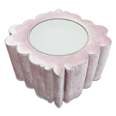 Bon Bon Mirror Light Pink Velvet Ottoman