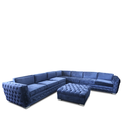 Zephur Navy Velvet Sectional Set Showroom Sample