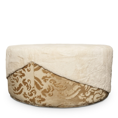 Misha Faux Fur Cream Ottoman Floor Sample