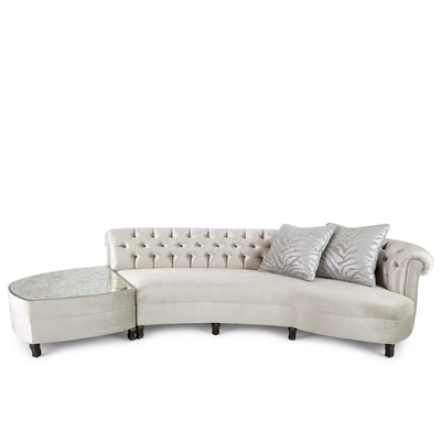 Aria silver velvet sectional with antique mirror topped ottoman