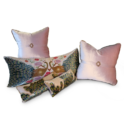 Peacock Blush 5 piece Pillow Set