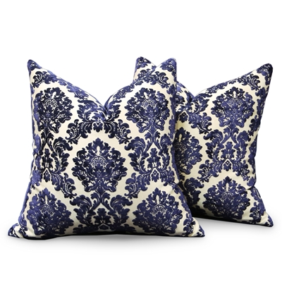 Da Vinci Navy Damask Velvet Pillow Set