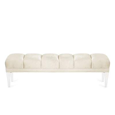 Becky Antique White Velvet Channel Bench