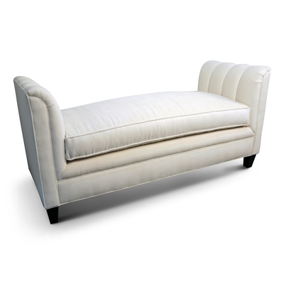 Sharise Ivory Velvet Channeled Chaise