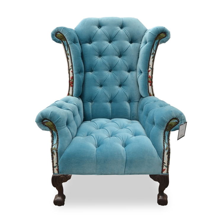 Tufted wing back chair blue velvet fabric haute house home for Cameron tufted chaise peacock