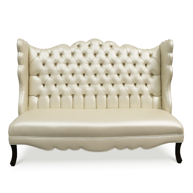 Pantages Tufted Pearl Vinyl Wing Banquette